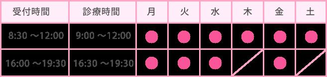 宝塚にある内科・小児科 おのクリニックの診療時間表